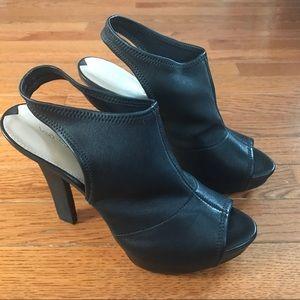EUC Via Spiga Black Leather Booties Peep toe, 8.5M